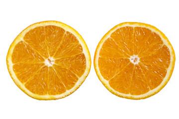 An orange sliced in half.