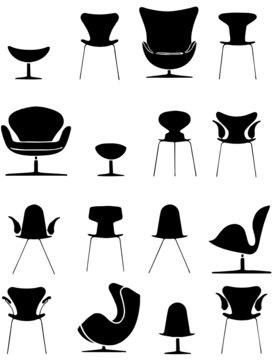 set element of design vintage chair