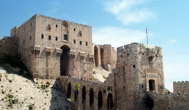 Citadel in Aleppo - closeup of entrance and bridge over moat