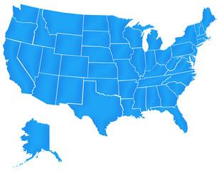 Carte Etats Unis Bleu Satin