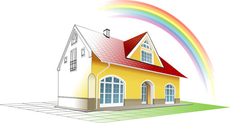 Dream home coming true and colorful, rainbow. Vector clipart