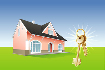 House keys, real estate, security. Vector illustration
