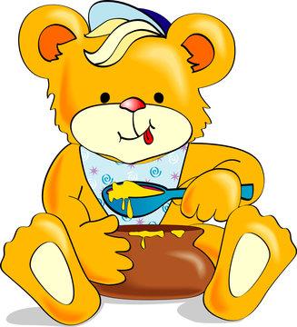 Cute cartoon bear eating honey. Vector Illustration