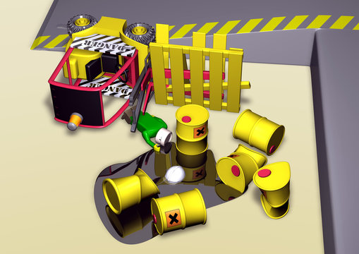industrial accident with power lift truck in 3d toy