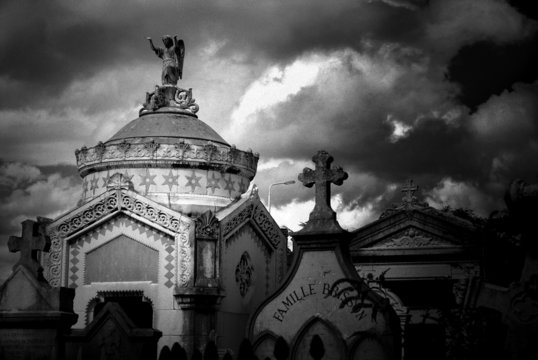 Mausoleum and Tombstones in Ancient Graveyard in France