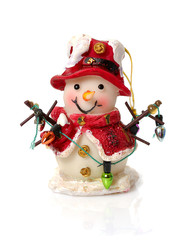 Chrismas toy -funny snowman isolated on whtie