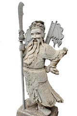 stone statue with sword staff isolated