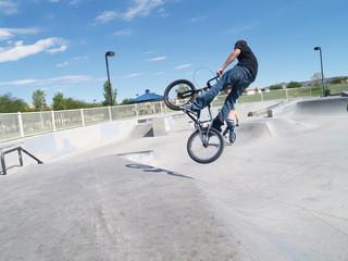 Biker in skate park