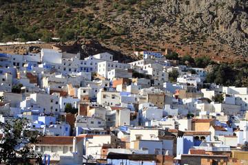 maisons sur un flanc de montagne à chefchaouen au maroc