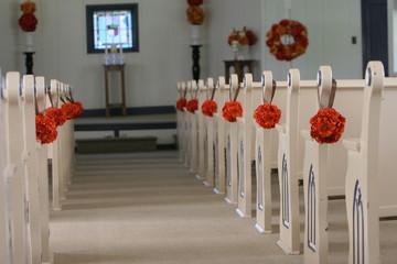 flower ball isle wedding ceremony church orange