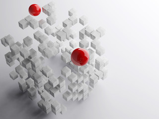 Exploding boxes with large reflective red spheres