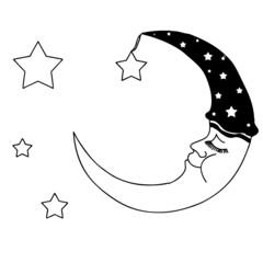 sleeping black and white moon