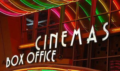 Movie theater box office sign