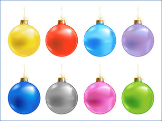 Eight color different vector xmas ball, vector illustration