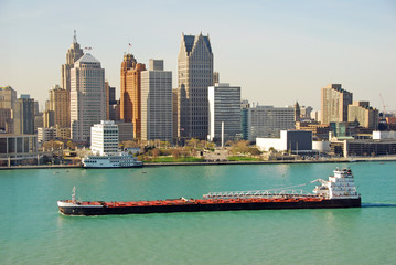 barge on the Detroit river