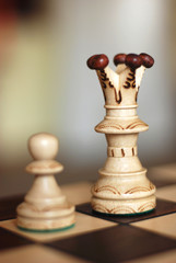 Chess king and pawn (focus on king)