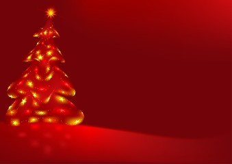 Red Abstract Christmas Tree - christmas background