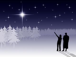 Winter night scene, people silhouettes