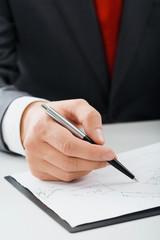 Male hand writing