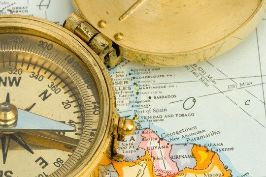 Antique Compass & Map