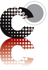 retro dots abstract zen alphabet design C