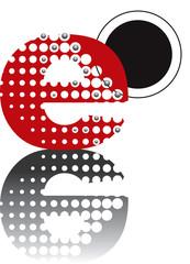 retro dots abstract zen alphabet design E