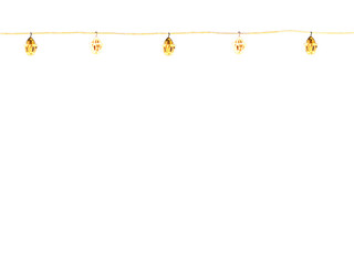 string of christmas lights, isolated against white