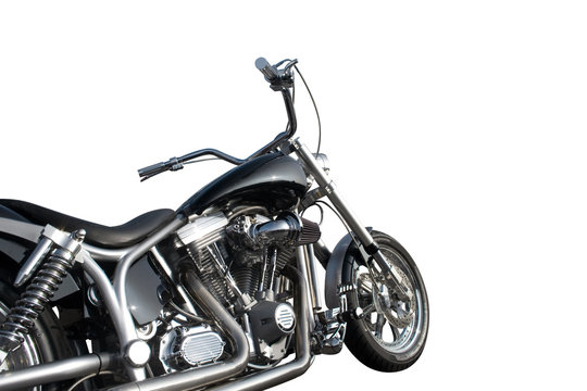Black and chrome motorcycle isolated on a white background