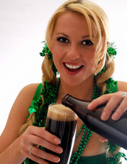 Irish Beauty Pouring an Ale