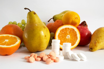 Pills and variout fruit