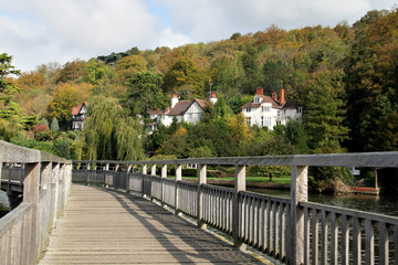 Autumn on a Boardwalk over the River Thames