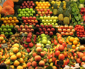 fruit and vegetable stall in barcelona market