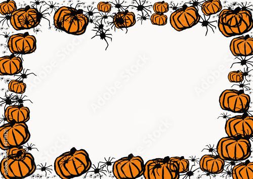 cadre Halloween citrouilles et araignées\