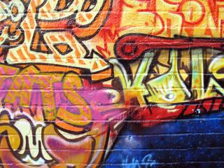 Graffiti art on a brick wall in New York city