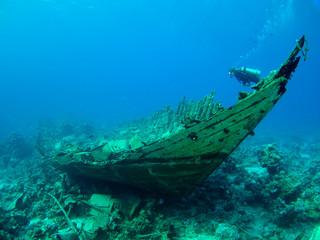 Aluminium Prints Shipwreck Diver over a wreck
