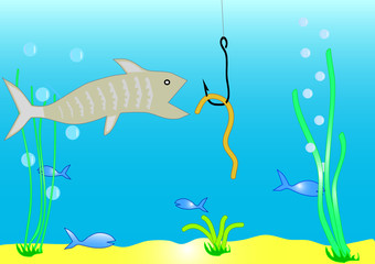 Fish and worm on a hook