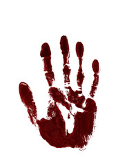 Red ink impression of left hand