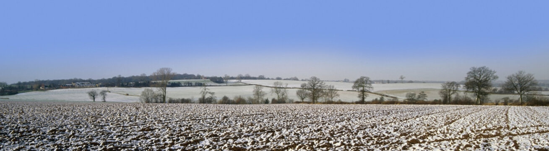 warwickshire farmland covered in snow winter