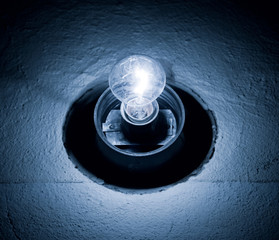 Bright lamp in a dark