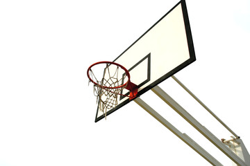 old basketball net isolated in white background