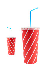 Two soda drinks with blue straw