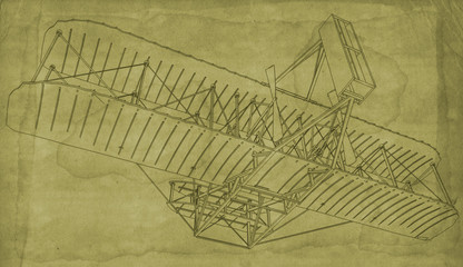 Blueprint style illustration of the first Wright Bothers Glider.