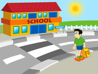Obraz premium chłopiec idzie do szkoły - ilustracja kreskówka