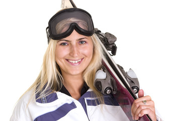 Blond woman skier