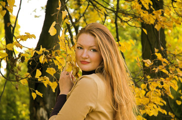 Portrait of the beautiful girl in autumn park