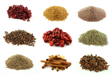 Various kinds of nine exotic spices