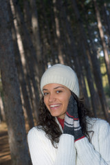 beautiful winter girl in white