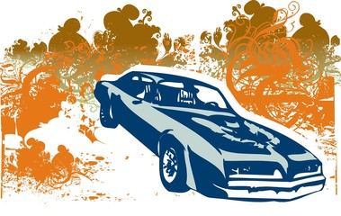 Firebird car illustration Wall mural