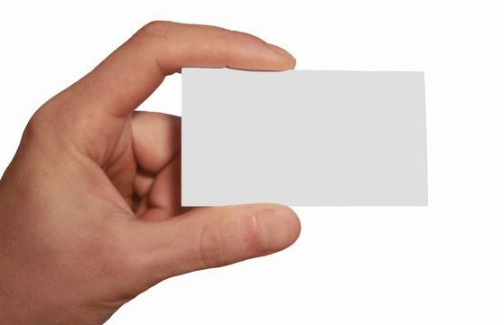 white business card in hand
