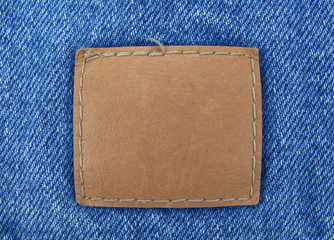 Blank Leather Tag on Denim